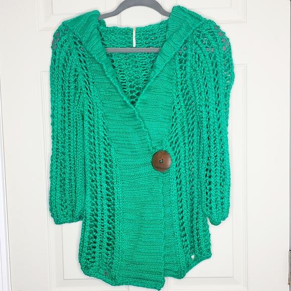 Free People Crochet Hooded Cardi Sweater Size S